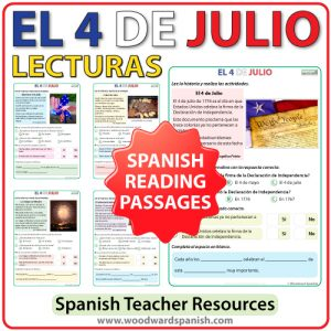 Spanish Reading Passages about the 4th of July - Lecturas del 4 de julio en español