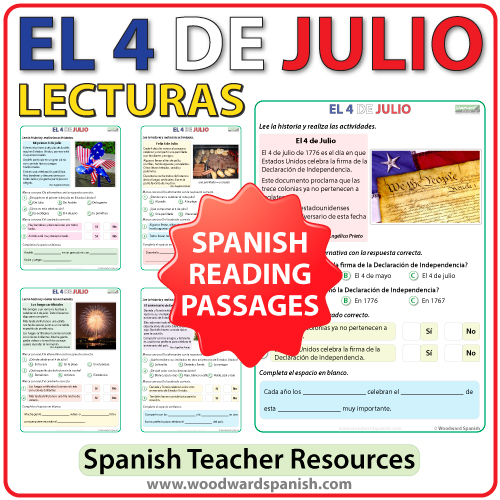 Spanish Reading Passages about the 4th of July - Lecturas del 4 de julio en español