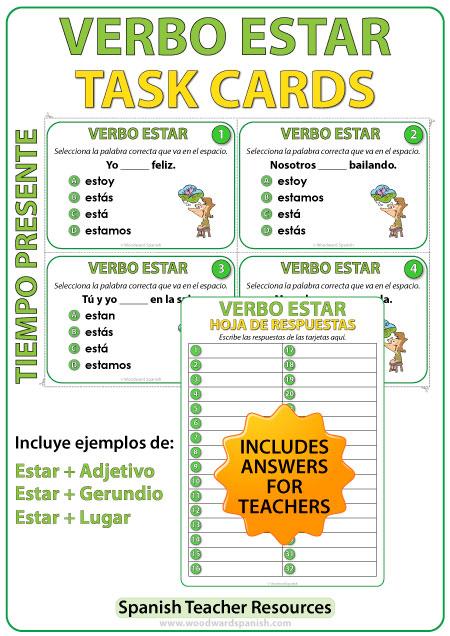 Spanish Task cards -ESTAR in Present Tense. Verbo ESTAR en español.