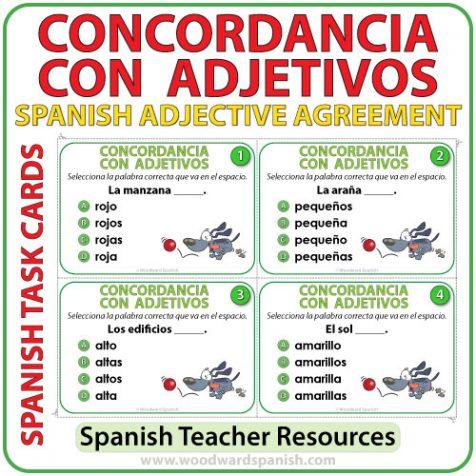 Spanish Task Cards - Concordancia con Adjetivos - Spanish Adjective Agreement