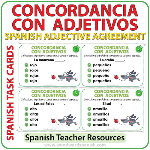 spanish adjective agreement task cards woodward spanish. Black Bedroom Furniture Sets. Home Design Ideas