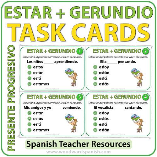 Task cards to practice the conjugation of the verb ESTAR with Spanish Verbs ending in -NDO. Tarjetas de selección múltiple para practicar la conjugación del verbo ESTAR+ Gerundio en español.