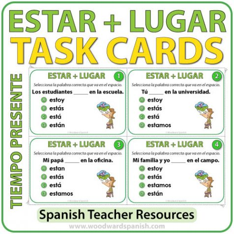 Spanish Task Cards - ESTAR + Lugar - Simple Present Tense - Presente de Indicativo