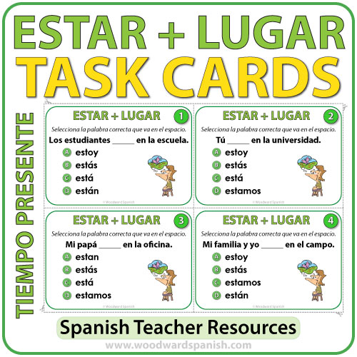 Spanish Task Cards - ESTAR + Lugar - Simple Present Tense - Presente de Indicativo
