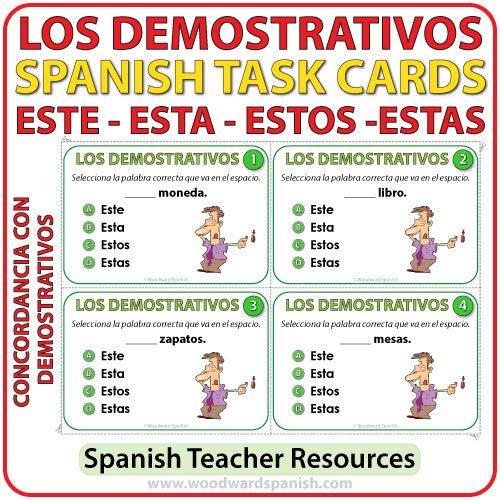Spanish Task Cards - Este, Esta, Estos, Estas - Demonstratives - Adjetivos Demostrativos