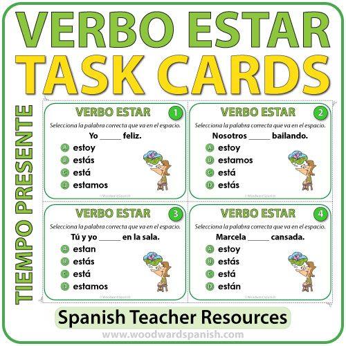 Verbo ESTAR en español - Spanish Task cards -ESTAR in Present Tense.