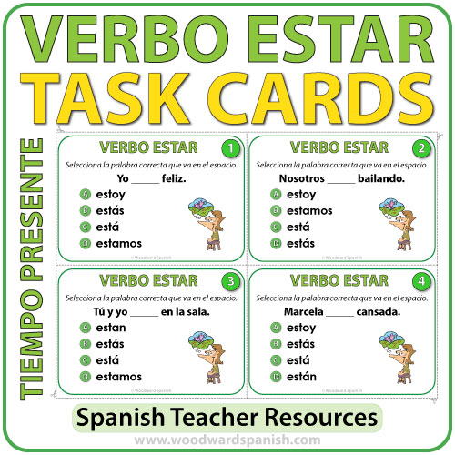 Verbo ESTAR en español - Spanish Task cards -ESTAR in Present Tense.