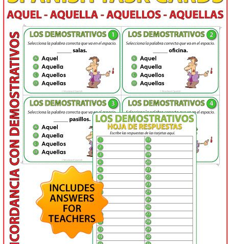Aquel, aquella, aquellos, aquellas - Spanish Task Cards - Demonstratives