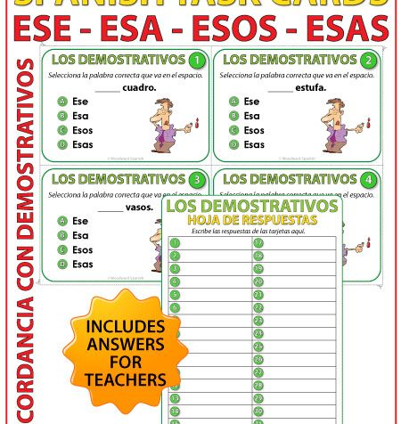 Spanish Task cards - ese, esa, esos, esas (Demonstratives). Adjetivos demostrativos en español.