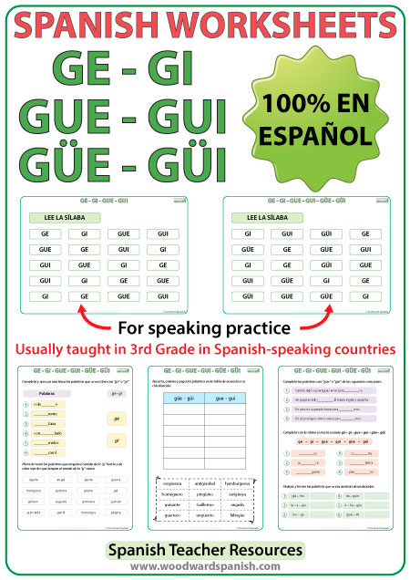 spanish syllables ge gi gue gui g e g i worksheets woodward spanish. Black Bedroom Furniture Sets. Home Design Ideas