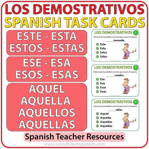 Spanish Demonstratives Task Cards - Los Adjetivos Demostrativos en español