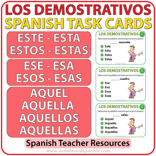 Spanish Demonstratives Task Cards - Los Adjetivos Demostrativos en español