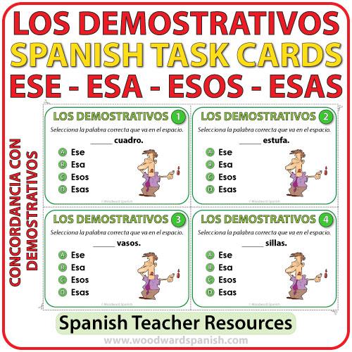 Task cards to help learn Spanish demonstrative adjectives (ese, esa, esos, esas). Tarjetas de selección múltiple para aprender los adjetivos demostrativos en español.
