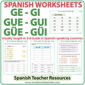 Worksheets and Pronunciation Practice Charts about the syllables GE, GI, GUE, GUI, GÜE, GÜI in Spanish. Las sílabas GE, GI, GUE, GUI, GÜE, GÜI en español