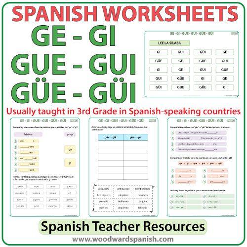 Worksheets and Pronunciation Practice Charts about the syllables GE, GI, GUE, GUI, GÜE, GÜI in Spanish. Las sílabas GE, GI, GUE, GUI, GÜE, GÜI en español