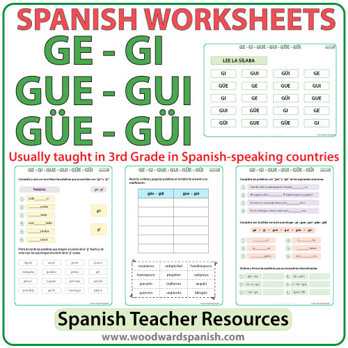 Spanish Syllables Ge Gi Gue Gui Güe Güi Worksheets Woodward Spanish