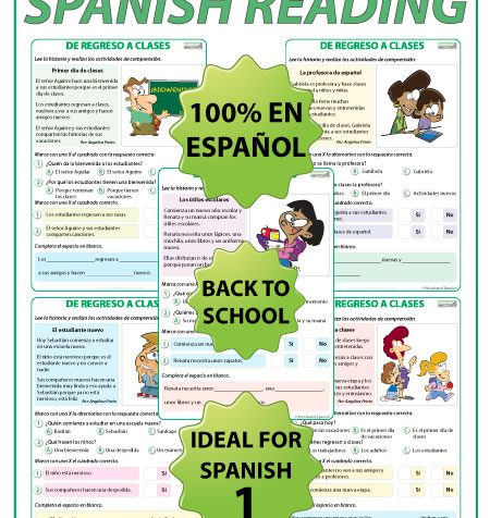 De Regreso a Clases - Lectura - Back To School - Spanish Reading