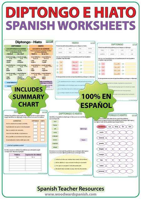 Diptongo e Hiato en español - Spanish Worksheets