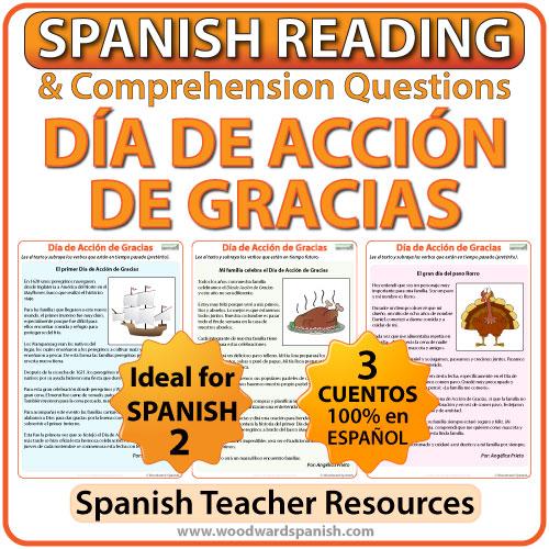 thanksgiving reading in spanish d a de acci n de gracias woodward spanish. Black Bedroom Furniture Sets. Home Design Ideas