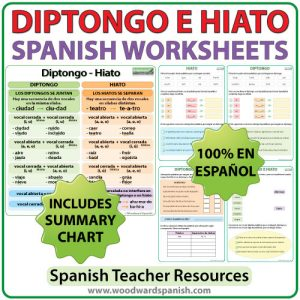 Spanish Worksheets - Diptongo e Hiato