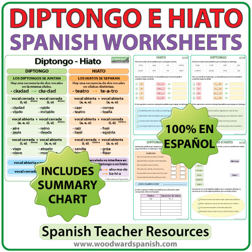 Spanish Worksheets - Diptongo e Hiato