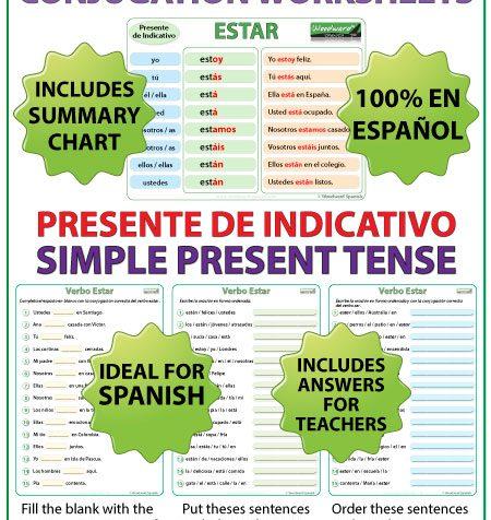 Spanish Verb ESTAR - Conjugation Worksheets - Simple Present Tense - Presente de Indicativo