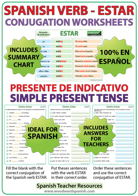 photograph about Spanish Verb Conjugation Chart Printable titled ESTAR - Spanish Verb Conjugation Worksheets - Show Stressful