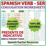 SER - Spanish Verb Conjugation Worksheets - Simple Present Tense - Presente de Indicativo