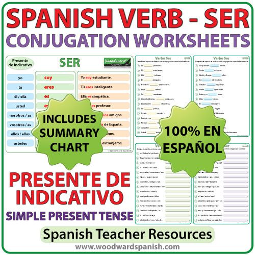 SER - Spanish Verb Conjugation Worksheets - Simple Present Tense - Presente de Indicativo
