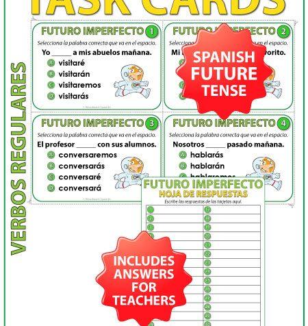 Task cards to practice the conjugation of regular Spanish verbs in the future tense. Tarjetas de selección múltiple para practicar la conjugación de verbos en en futuro imperfecto en español.