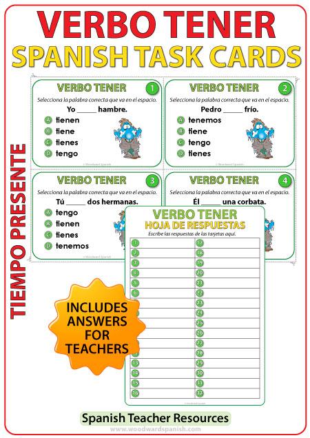 Spanish Task cards - TENER in Present Tense. Verbo TENER en español.