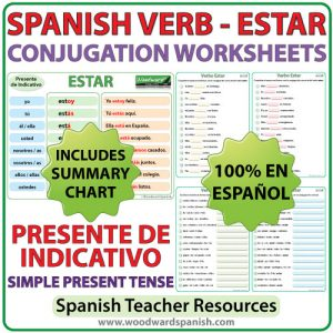 ESTAR - Spanish Verb Conjugation Worksheets - Simple Present Tense - Presente de Indicativo