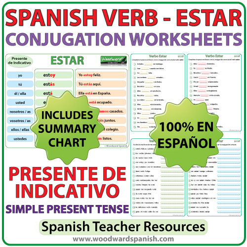 picture about Ser Vs. Estar Worksheet Printable identify ESTAR - Spanish Verb Conjugation Worksheets - Deliver Nerve-racking