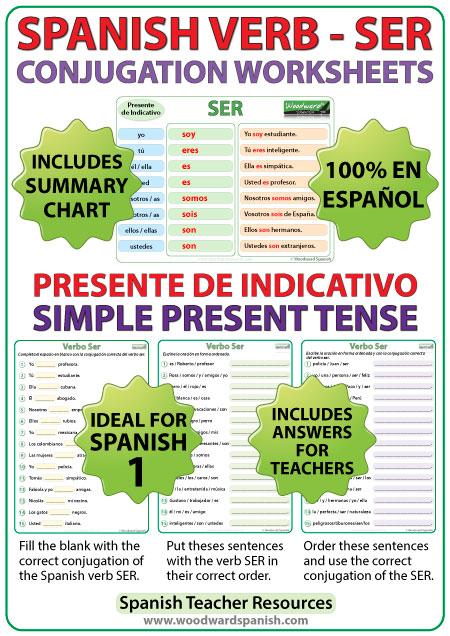 Spanish Verb SER - Conjugation Worksheets - Simple Present Tense - Presente de Indicativo