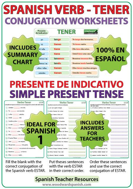 TENER Spanish Conjugation Worksheetsin the simple present tense. Ejercicios para practicar la conjugación del verbo TENER en español (en el presente de indicativo).