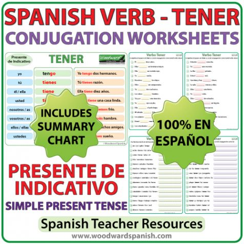 Spanish Worksheets to learn the correct conjugation of the verb TENER in the simple present tense. Ejercicios para practicar la conjugación del verbo TENER en español (en el presente de indicativo).