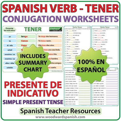 Spanish Worksheets to learn the correct conjugation of the verb TENERin the simple present tense. Ejercicios para practicar la conjugación del verbo TENER en español (en el presente de indicativo).