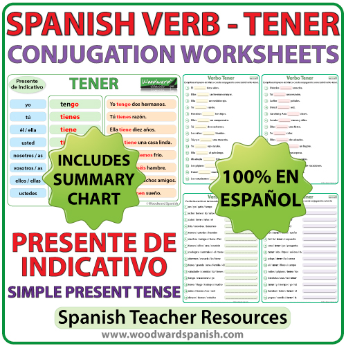 TENER Spanish Verb Conjugation Worksheets Present Tense