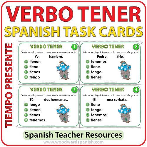 Verbo TENER en español - Spanish Task Cards -TENER in Present Tense.