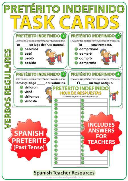 Spanish Past Tense Task Cards - Preterite / Pretérito Indefinido.
