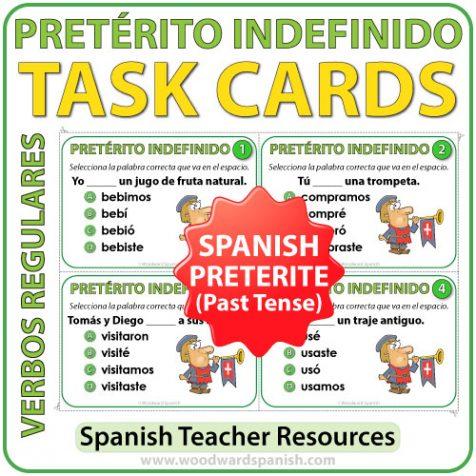 Task cards to practice the conjugation of regular Spanish verbs in the preterite (past) tense. Tarjetas para practicar la conjugación de verbos en el pretérito indefinido en español.
