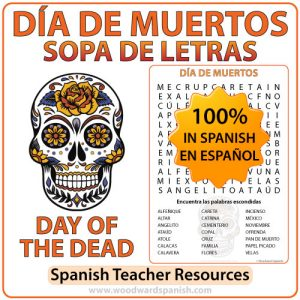 Día de Muertos Sopa de Letras - Day of the Dead Spanish Word Search