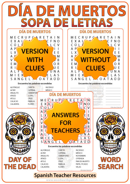 Day of the Dead Spanish Word Search - Día de Muertos Sopa de Letras