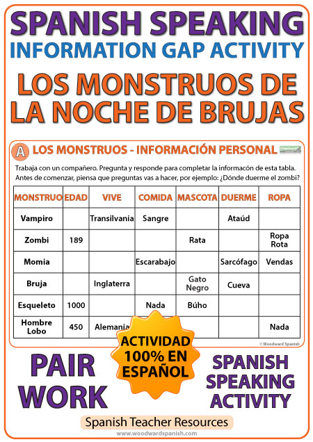Spanish Halloween Speaking - Information Gap Activity - La Noche de Brujas
