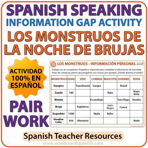 Spanish Speaking - Halloween Information Gap Activity - La Noche de Brujas