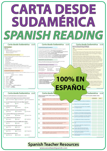 Spanish Reading - Letter from South America. Lectura - Carta desde Sudamérica.