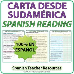 Spanish Reading Passageabout a letter from South America. Lectura en españolacerca de una carta desde Sudamérica.