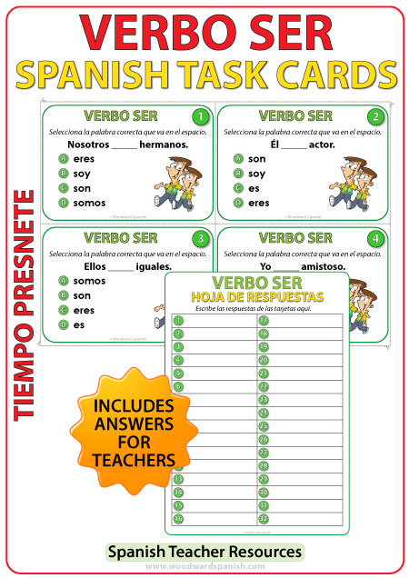 Spanish Task Cards to practice the verb SER in the simple present tense.