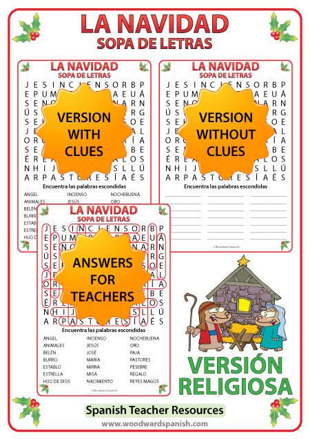 Navidad - Sopa de Letras - Versión Religiosa - Religious Christmas Word Search in Spanish
