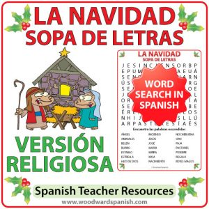 Spanish Word Search with Religious Christmas Vocabulary. Sopa de Letras - Vocabulario religioso relacionado con la Navidad en español.